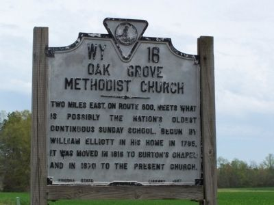 Oak Grove Methodist Church Marker image. Click for full size.