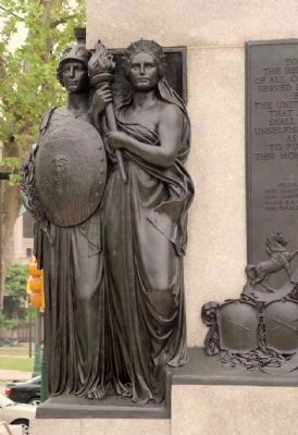 "Two of the four allegorical female figures, ""War"" and ""Liberty."" image. Click for full size."