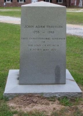 John Adam Treutlen Marker, </b>(South face) image. Click for full size.