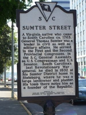 Sumter Street Marker image. Click for full size.