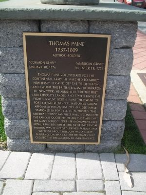 Thomas Paine Marker Photo, Click for full size