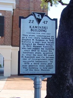 Kaminski Building Side of Marker image. Click for full size.