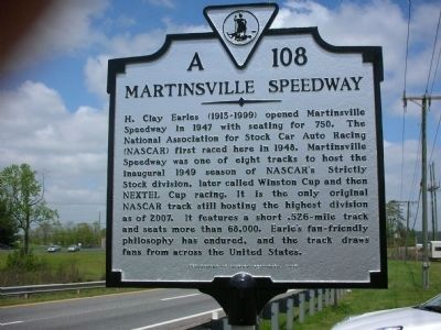 Martinsville Speedway Marker image. Click for full size.