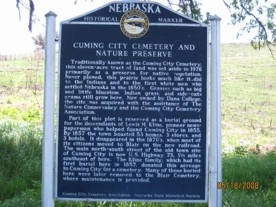 Cuming City Cemetery and Nature Preserve Marker image. Click for full size.