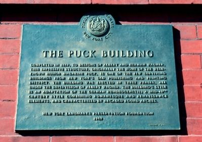 The Puck Building Plaque (on front corner of building) image. Click for full size.