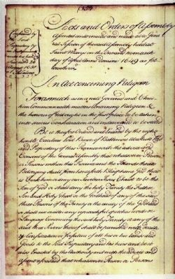 An Act concerning Religion (Relating to-Religious Toleration Act of 1649 (Original Scan-Page One) Photo, Click for full size