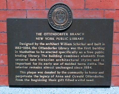 Ottendorfer Branch of the New York Public Library Marker image. Click for full size.