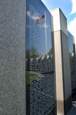 First Panel of Names with American Flag Reflection image. Click for full size.