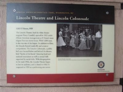 Lincoln Theatre and Lincoln Colonnade Marker image. Click for full size.