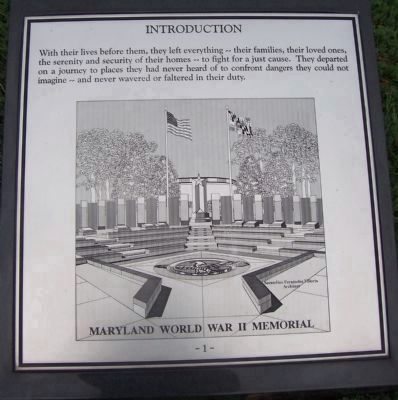 "Maryland WWII Memorial - Marker Panel No. 1 ""Introduction"" image. Click for full size."