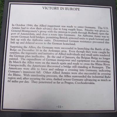 "Maryland WW II Memorial - Marker Panel No. 11 ""Victory in Europe"" image. Click for full size."