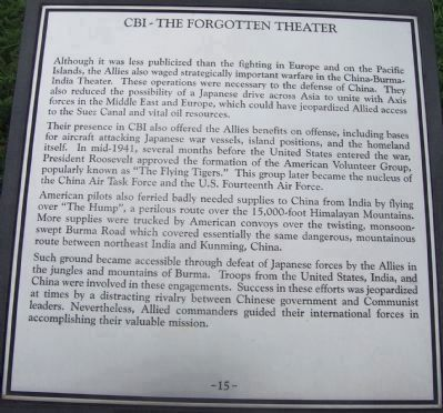"Maryland WW II Memorial - Marker Panel No. 15 ""CBI - The Forgotten Theater"" image. Click for full size."
