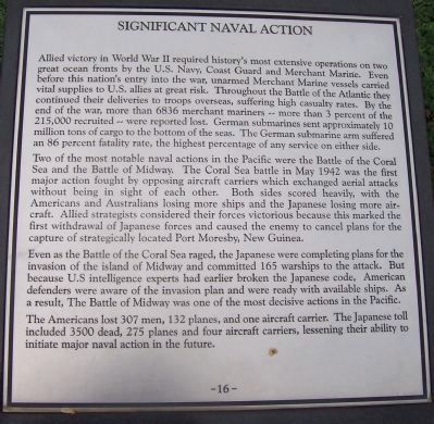 "Maryland WWII Memorial - Marker Panel No. 16 ""Significant Naval Action"" image. Click for full size."