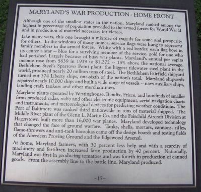 "Maryland WW II Memorial - Marker Panel No. 17 ""Maryland's War Production - Home Front"" image. Click for full size."