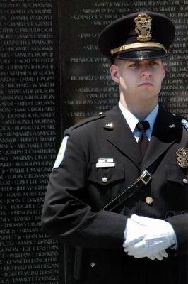 Vietnam Veterans Memorial being Guarded During Memorial Day 2008 Ceremony image. Click for full size.