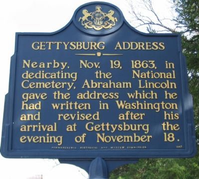 Gettysburg Address Marker Photo, Click for full size