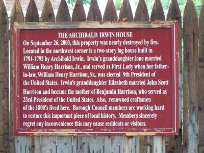 The Archibald Irwin House Marker Photo, Click for full size