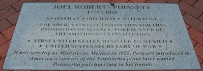 Inscription at the Foot of the Poinsett Statue image. Click for full size.