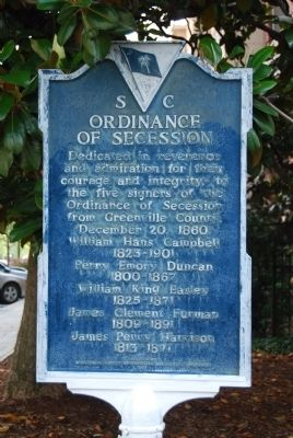 SC Ordinance of Secession Marker image. Click for full size.