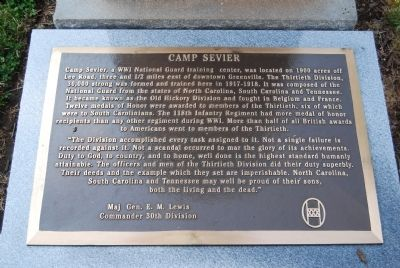 Camp Sevier Marker Photo, Click for full size