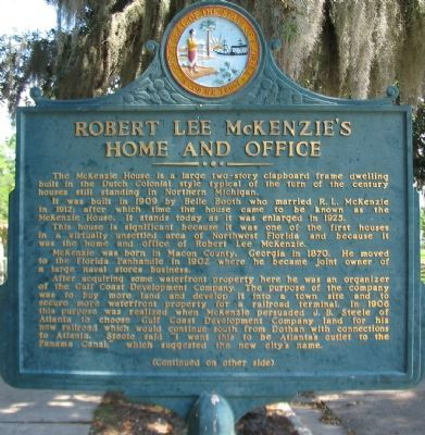 Robert Lee McKenzie's Home and Office Marker, Front Side image. Click for full size.
