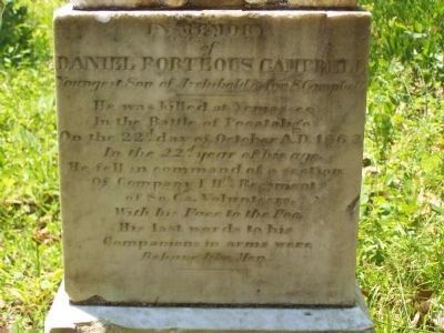 Close-up of Daniel Porteous Campbell Grave Marker Photo, Click for full size