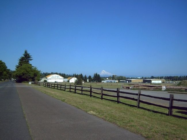 Mount Hood seen over the Pearson Field hangers. image. Click for full size.