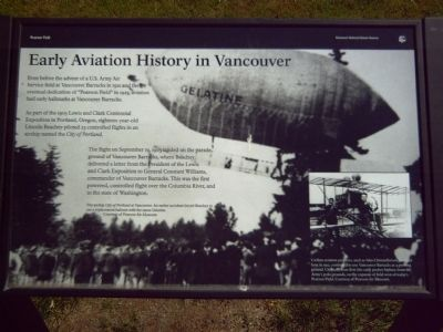Early Aviation History in Vancouver Marker image. Click for full size.