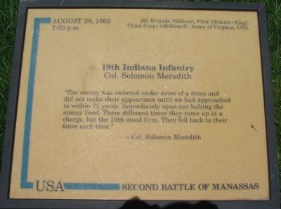19th Indiana Infantry Marker image. Click for full size.