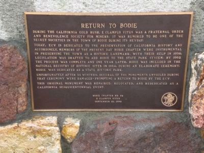 Return to Bodie Marker, below state historical marker on monument image. Click for more information.