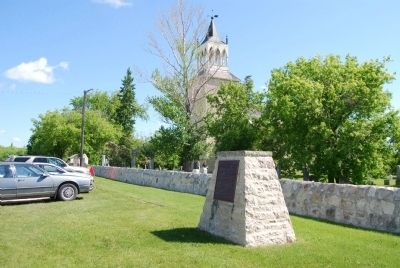 Marker in front of St. Andrew's Anglican Church image. Click for full size.
