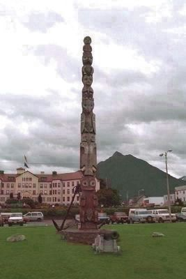 The Baranof totem pole, Totem Square image, Click for more information