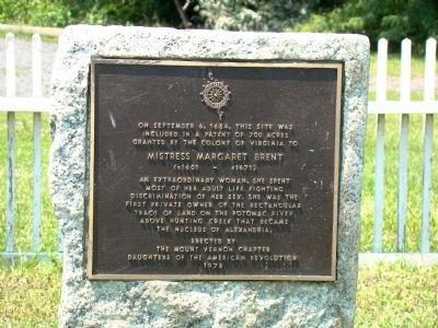Mistress Margaret Brent Marker Photo, Click for full size