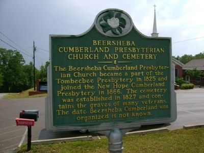 Beersheba Cumberland Presbyterian Church and Cemetery Marker image. Click for full size.