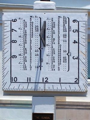Barnwell's nearby vertical sundial, as mentioned on marker image. Click for full size.