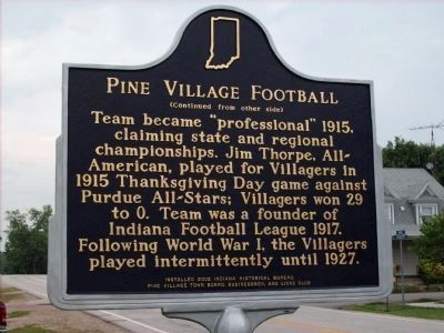 Pine Village Football Marker - Side Two Photo, Click for full size
