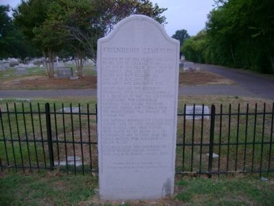Friendship Cemetery Monument image. Click for full size.