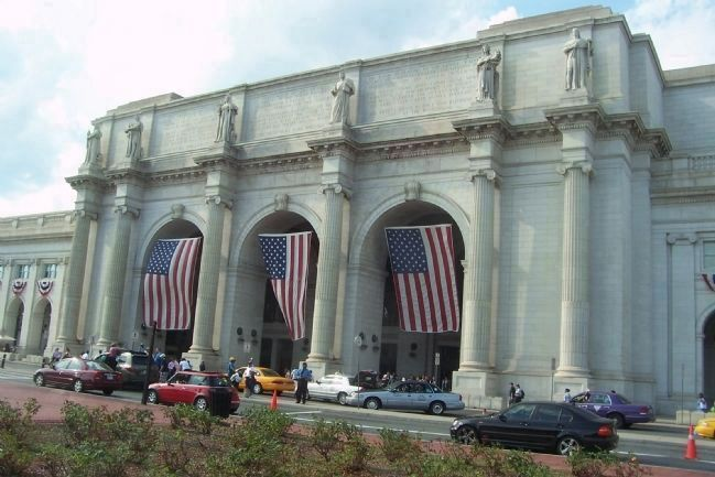 Station Entrance, flag -draped for Independence Day Photo, Click for full size