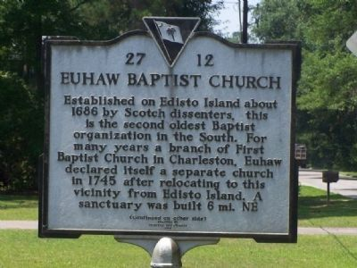Euhaw Baptist Church Marker </b>(front) image. Click for full size.