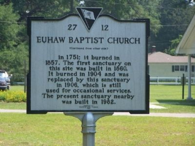 Euhaw Baptist Church Marker </b>(reverse) image. Click for full size.