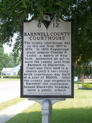 Barnwell County Courthouse Marker image. Click for full size.