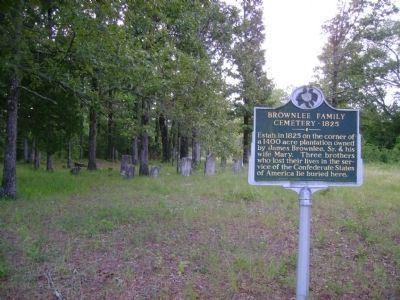 Brownlee Family Cemetery With Headstones in Background image. Click for full size.