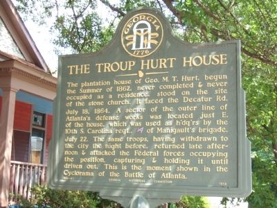 The Troup Hurt House Marker Photo, Click for full size
