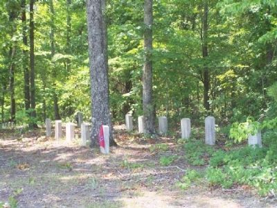 Marker located near small Military Cemetery; a partial view of the headstones image. Click for full size.