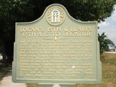 Logan's 15th & Blair's 17th A.C. to Decatur Marker image. Click for full size.