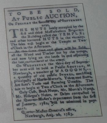 New Windsor Cantonment Auction Advertisement image. Click for full size.