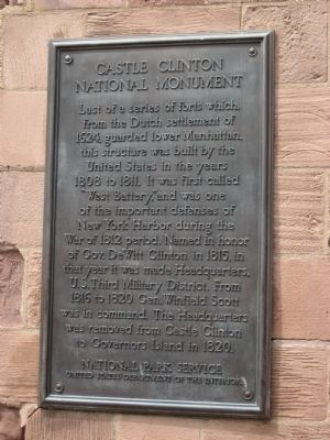Castle Clinton National Monument Marker - left plaque image. Click for full size.