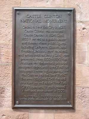 Castle Clinton National Monument Marker - right plaque image. Click for full size.