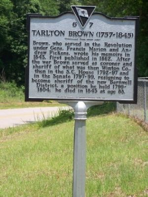Tarlton Brown ( 1757 - 1845 ) Marker, reverse side image. Click for full size.