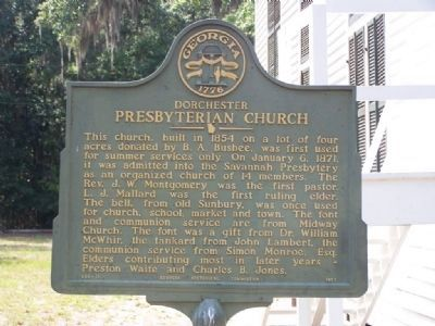 Dorchester Presbyterian Church Marker close-up image. Click for full size.
